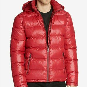 GUESS Men's Puffer Jacket W/ Removable Hood-L- Red